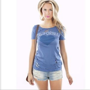 Chaser California Distressed Short Sleeve Tee Blue
